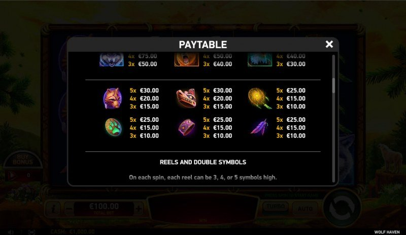 Wolf Haven :: Paytable - Low Value Symbols