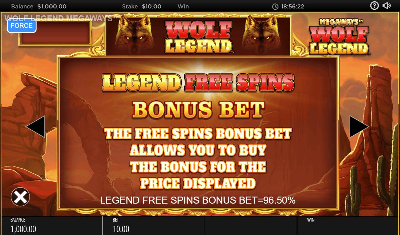 Wolf Legend Megaways :: Free Spins Rules