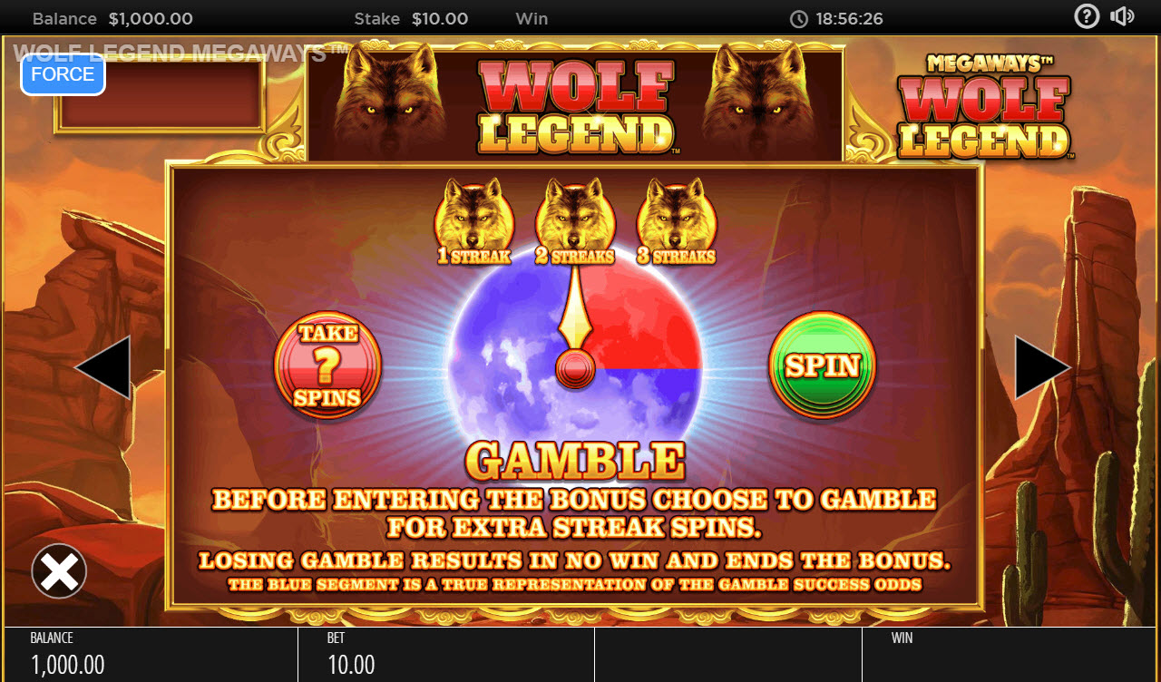 Wolf Legend Megaways :: Gamble Feature Rules
