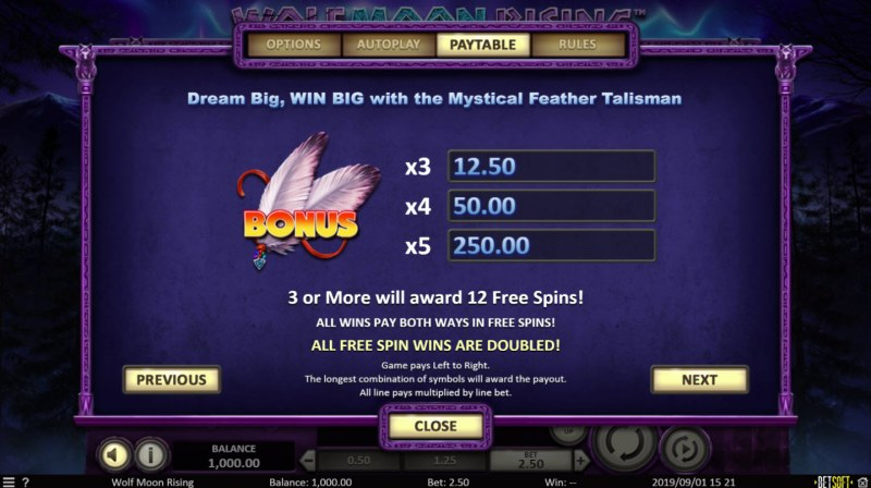 Play slots at Rockbet: Rockbet featuring the Video Slots Wolf Moon Rising with a maximum payout of $50,000