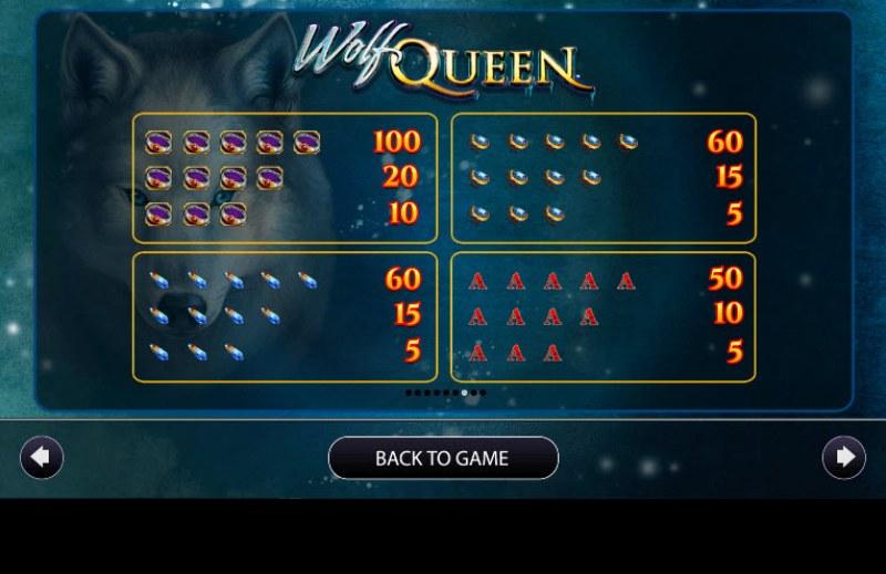 Wolf Queen :: Paytable - Medium Value Symbols