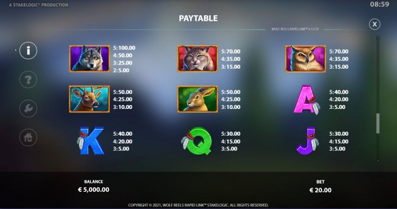 Wolf Reels Rapid Link :: Paytable - High Value Symbols