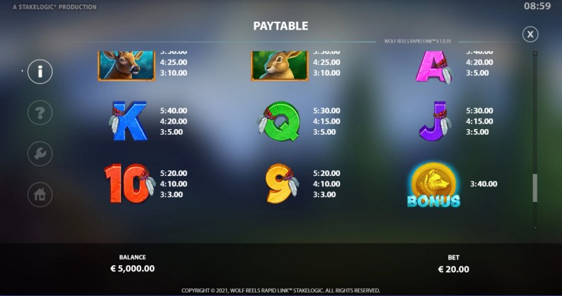 Wolf Reels Rapid Link :: Paytable - Low Value Symbols