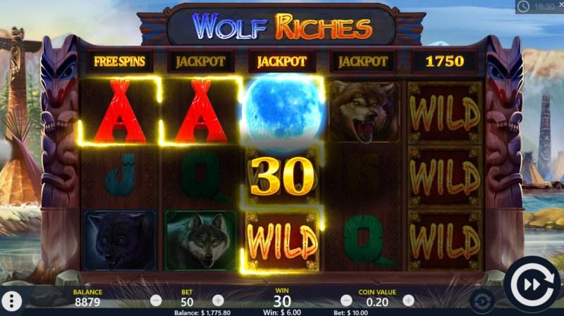 Wolf Riches :: Scatter symbols triggers bonus feature