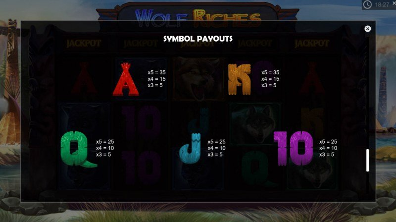 Wolf Riches :: Paytable - Low Value Symbols