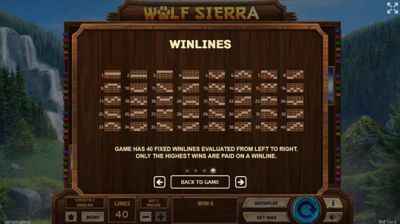 Wolf Sierra :: Paylines 1-40