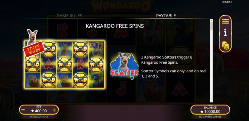 Wombaroo Hold and Re-Spin :: Kangaroo Free Spins