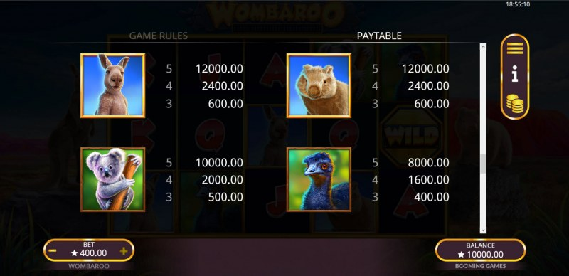 Wombaroo Hold and Re-Spin :: Paytable - High Value Symbols