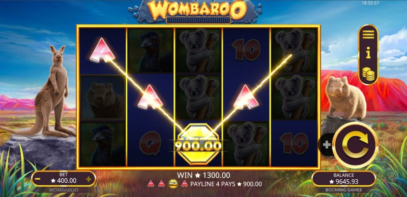 Wombaroo Hold and Re-Spin :: A four of a kind win