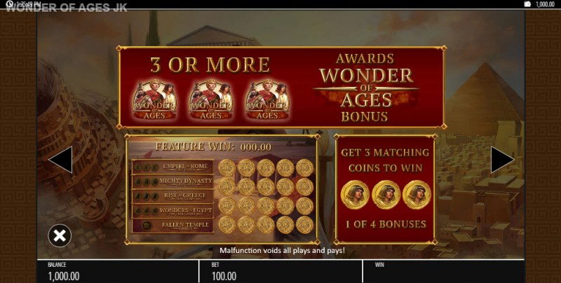Wonder of Ages Jackpot King :: Feature Rules