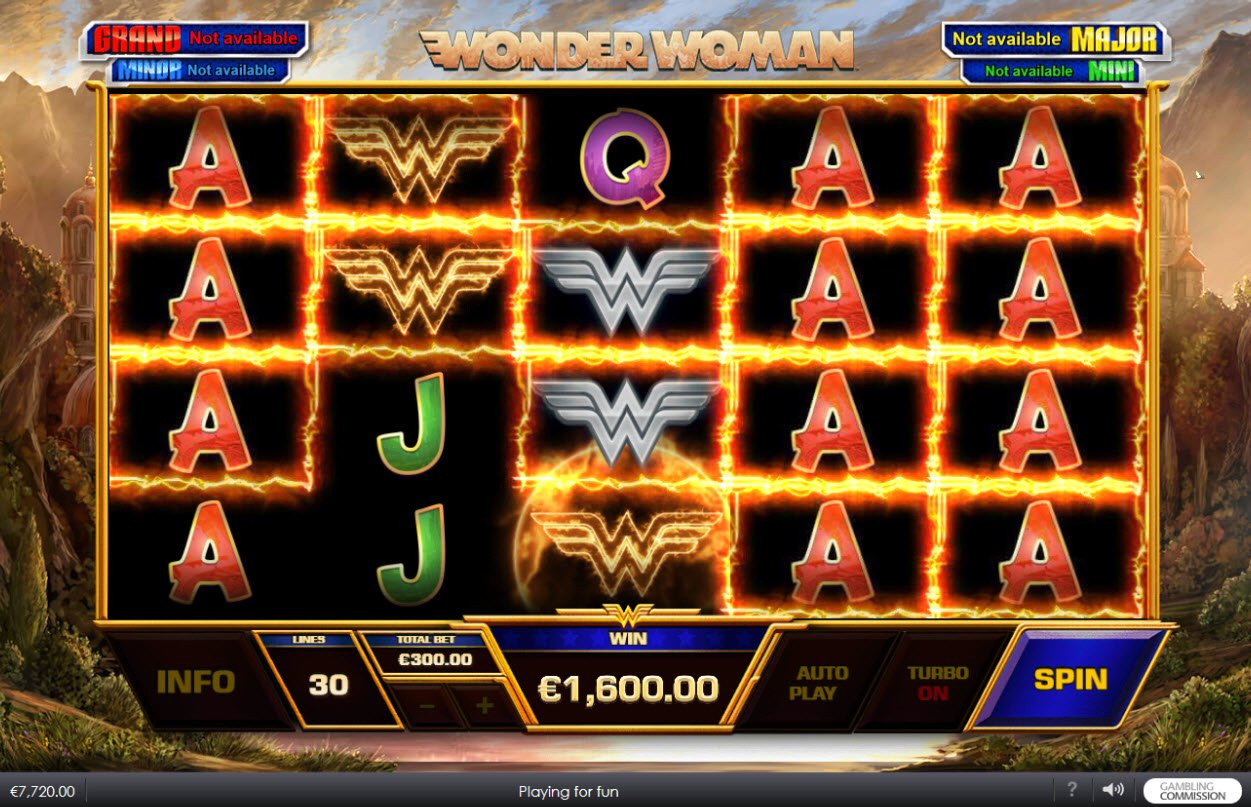 Play slots at Vernons: Vernons featuring the Video Slots Wonder Woman with a maximum payout of $45,000