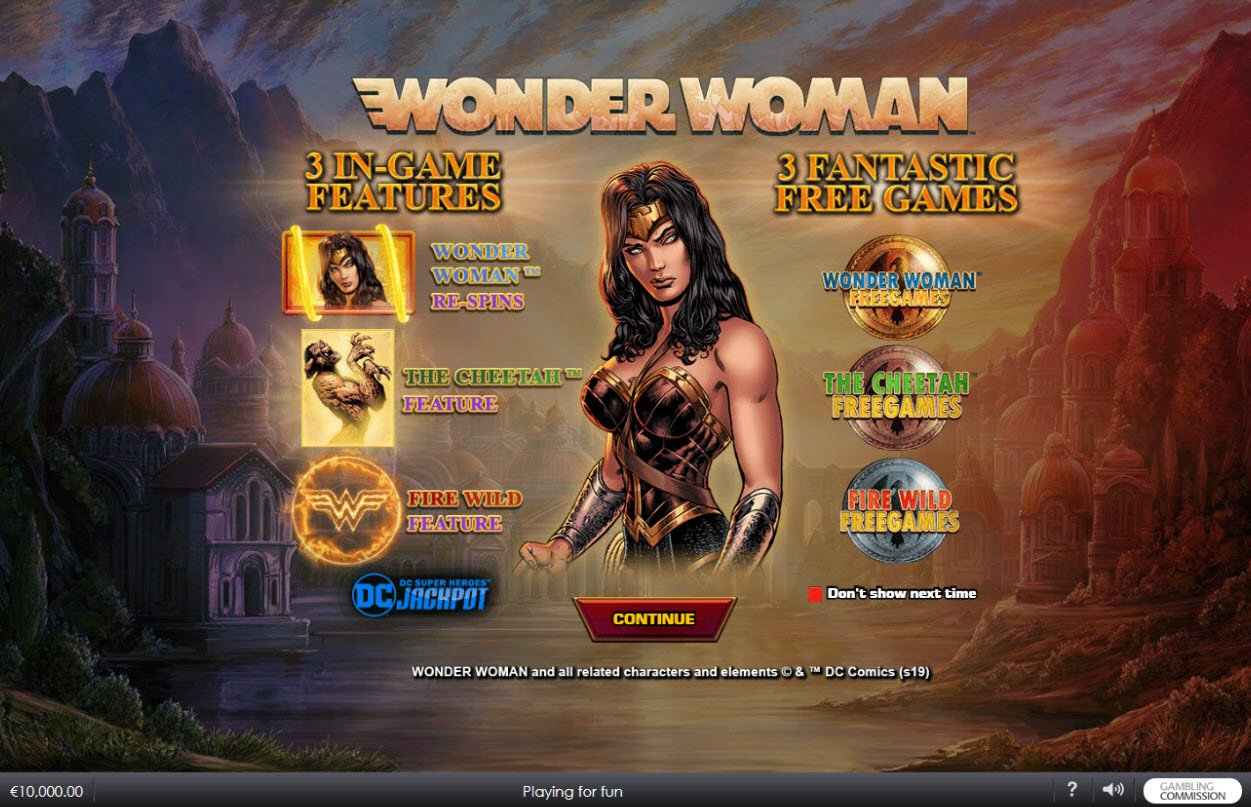 Play slots at William Hill Casino Club: William Hill Casino Club featuring the Video Slots Wonder Woman with a maximum payout of $45,000