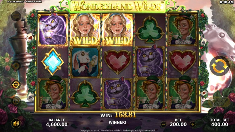 Wonderland Wilds :: A three of a kind win