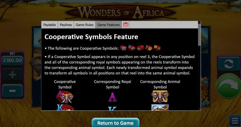 Wonders of Africa :: Cooperative Symbol Feature