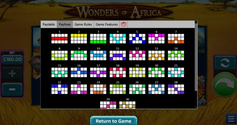 Wonders of Africa :: Paylines 1-27