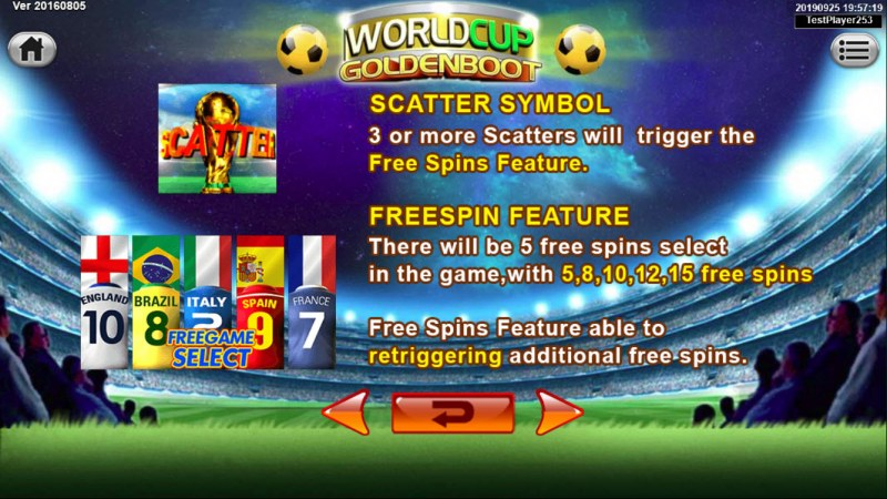 World Cup Golden Boot :: Scatter Symbol Rules