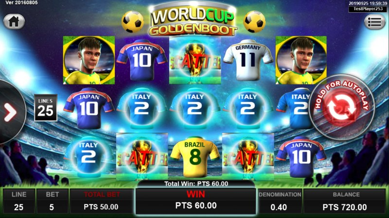 World Cup Golden Boot :: Scatter symbols triggers the free spins feature