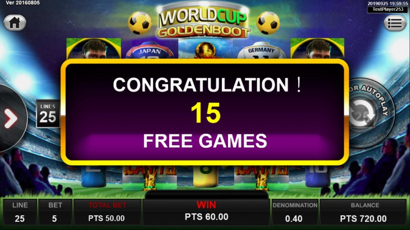 World Cup Golden Boot :: 15 Free Games Awarded