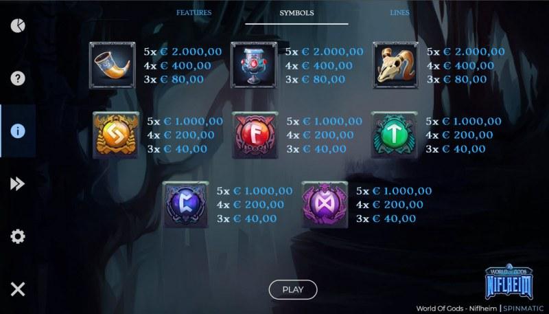 World of Gods Niflheim :: Paytable - Low Value Symbols