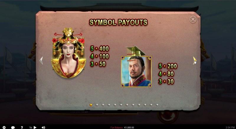 Wu Zetian :: Paytable - High Value Symbols