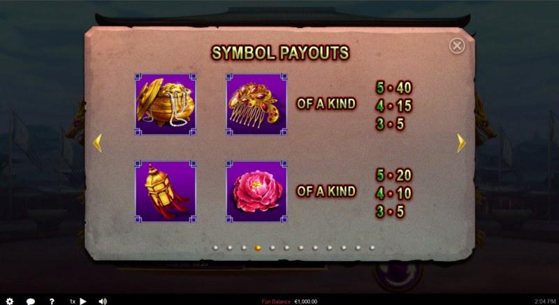 Wu Zetian :: Paytable - Low Value Symbols