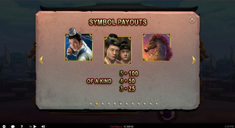 Wu Zetian :: Paytable - Medium Value Symbols