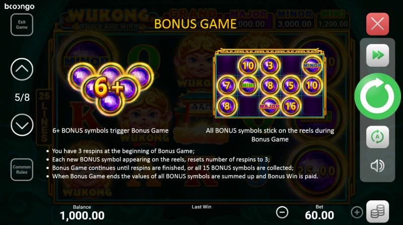 Wukong Hold and Win :: Bonus Game