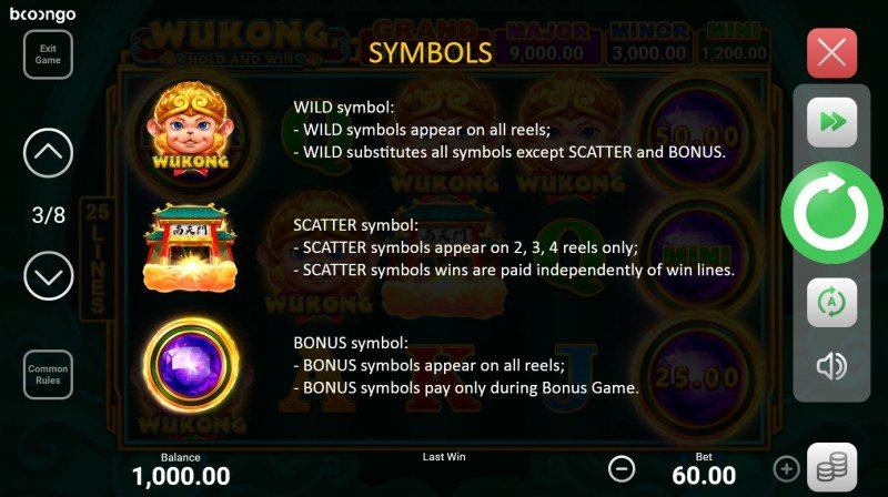 Wukong Hold and Win :: Wild and Scatter Rules