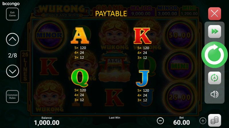 Wukong Hold and Win :: Paytable - Low Value Symbols