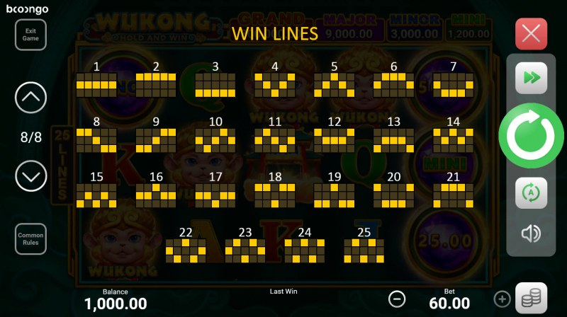 Wukong Hold and Win :: Paylines 1-25