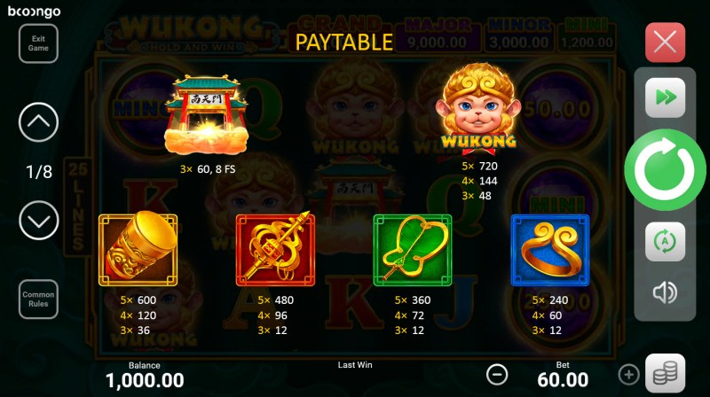 Wukong Hold and Win :: Paytable - High Value Symbols