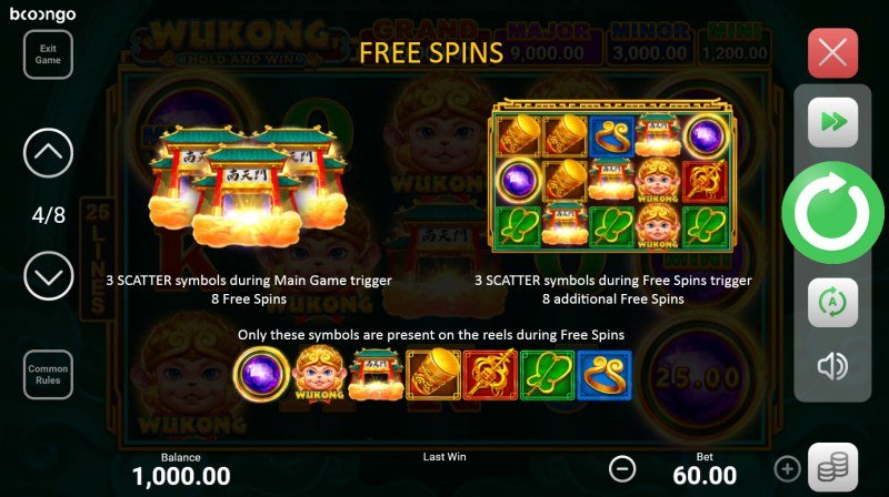 Wukong Hold and Win :: Free Spin Feature Rules