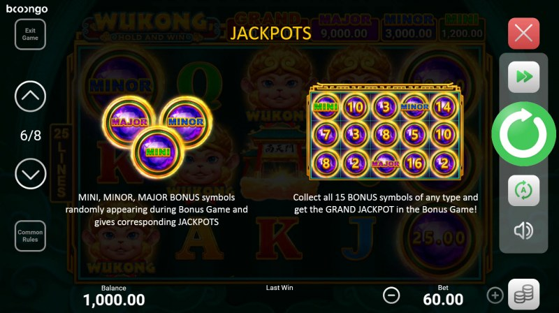 Wukong Hold and Win :: Jackpot Rules