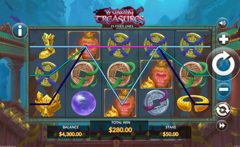 Wukong Treasures :: Multiple winning paylines