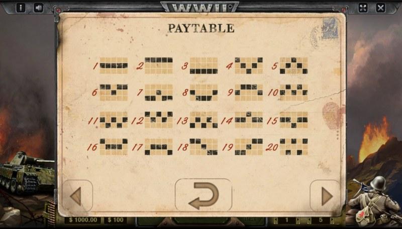 WW II :: Paylines 1-20