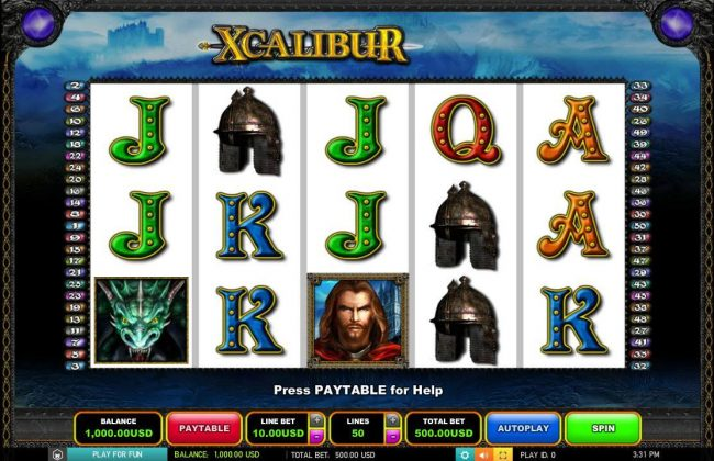Fruity Casa featuring the Video Slots Xcalibur with a maximum payout of $10,000