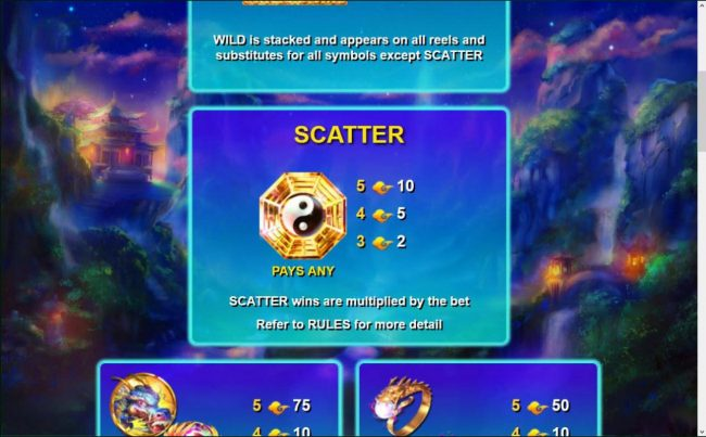The scatter symbol is represented by the Yin-Yang symbol. Scatter wins are multiplied by the bet.