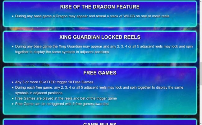 Game features include: Rise of the Dargon Feature, Xing Guardian Locked Reels and Free Games.