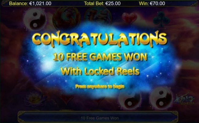 10 free games with locked reels awarded.