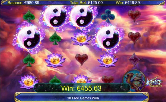 Four Yin-Yang scatter symbols awards a 449.89 payout and 10 free  games.