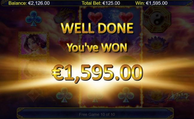 A 1,595.00 super win paid out by the free games feature.