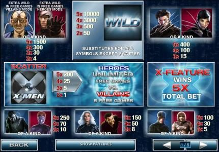 Casino.com featuring the Video Slots X-Men with a maximum payout of $500,000