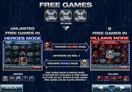 three or more x-men symbols triggers free games