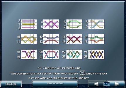 25 payline configurations