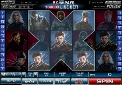 Europlay featuring the Video Slots X-Men with a maximum payout of $500,000