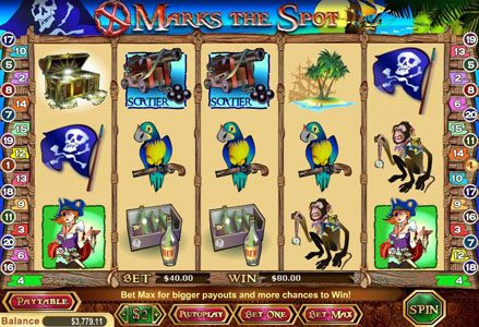 Liberty Slots featuring the Video Slots X Marks The Spot with a maximum payout of $40,000