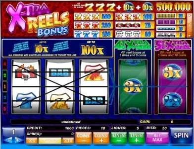 Play slots at Karamba: Karamba featuring the Video Slots X-tra Bonus Reels with a maximum payout of $500,000