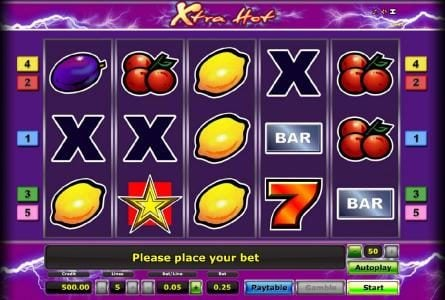 Xtra Hot :: main game board featuring five reels, five paylines and a gamble featuring