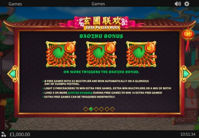 Royal Dice featuring the Video Slots Xuan Pu Lian Huan with a maximum payout of $125,000