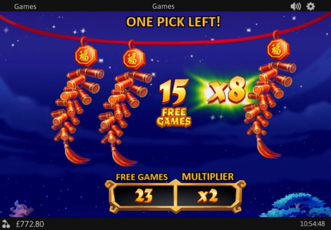 pick firecrackers to win free games and win multiplier